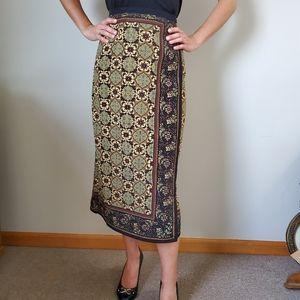 Vintage Border Print Wrap Skirt